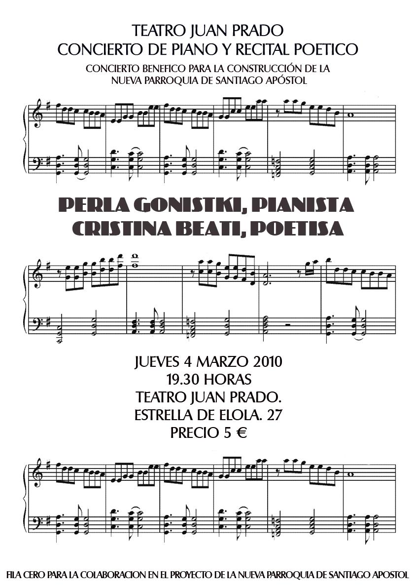 Concierto piano y poesía en Valdemoro (España), 4 de Marzo de 2010, 19.30hs.